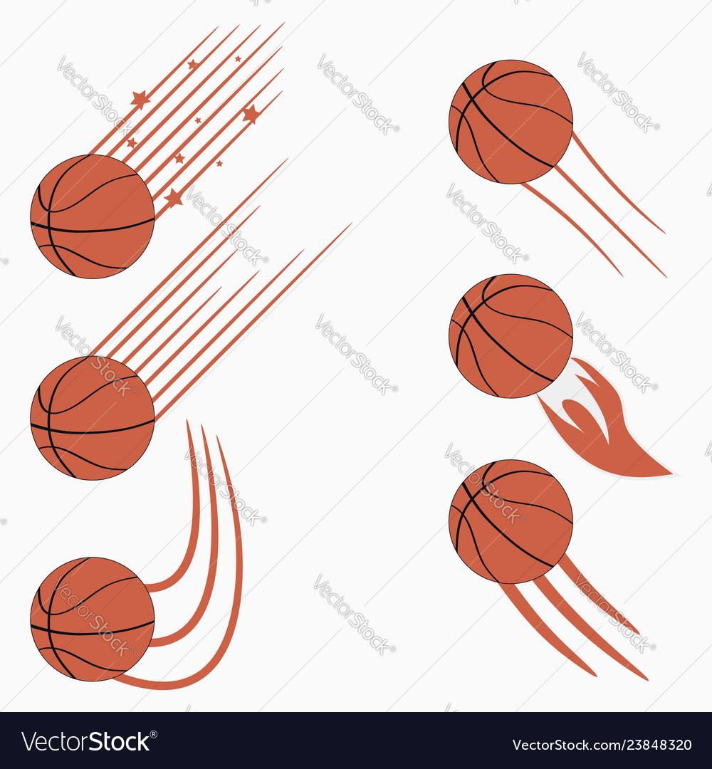Basketball flying balls with speed motion trails