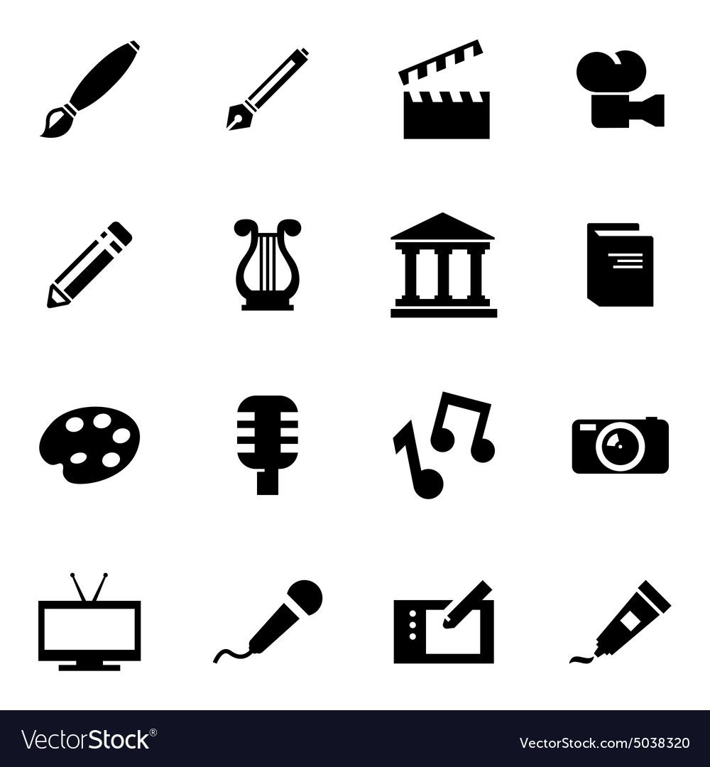 Black art icon set