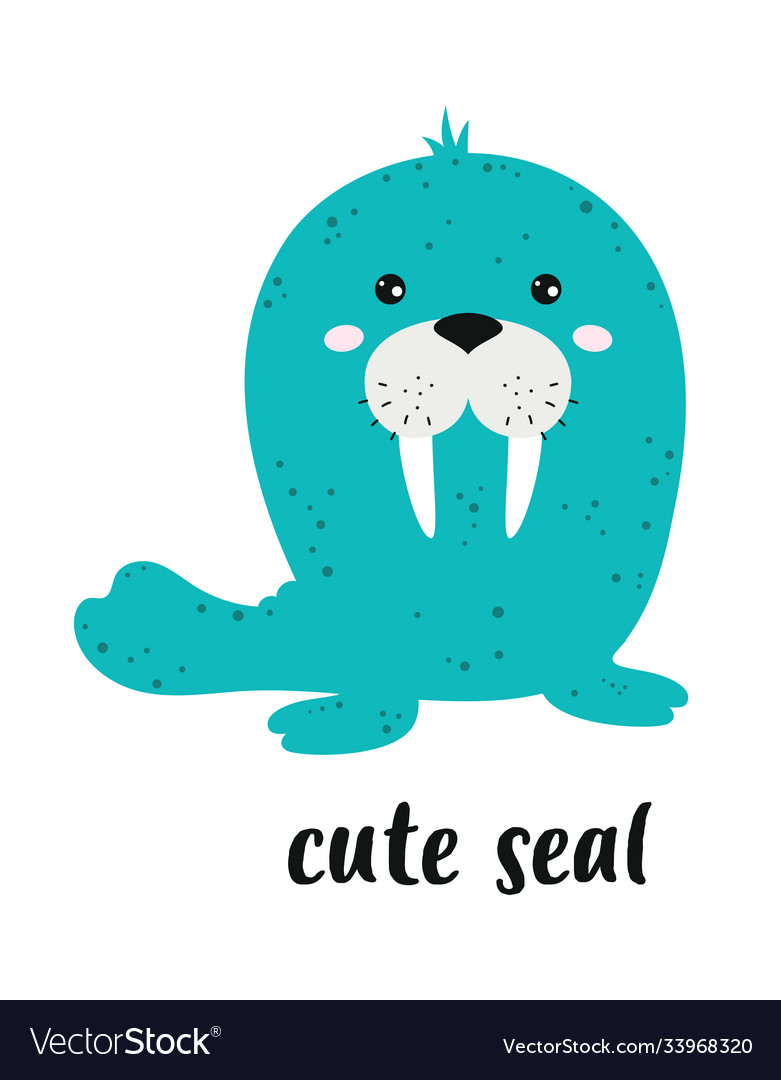 Cartoon cute seal isolated on white background