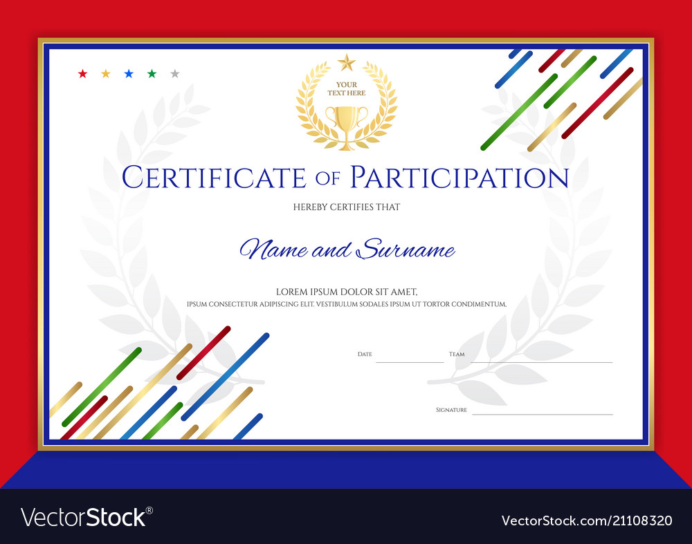 certificate template in sport theme with border vector image