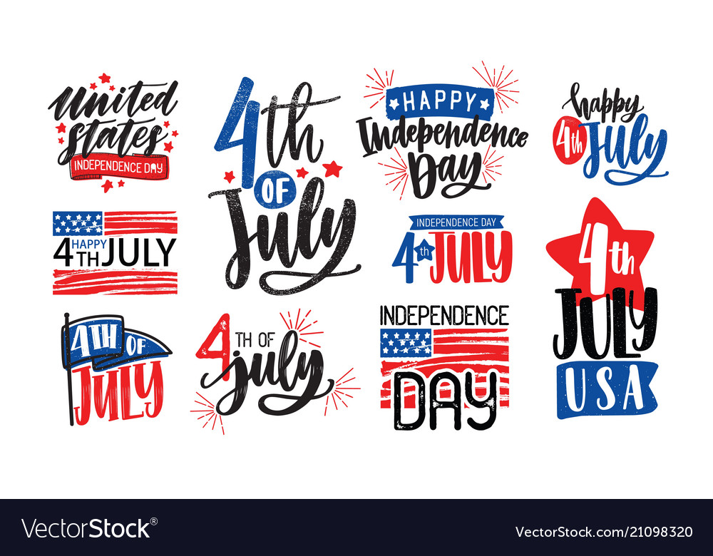 Collection of usa independence day lettering