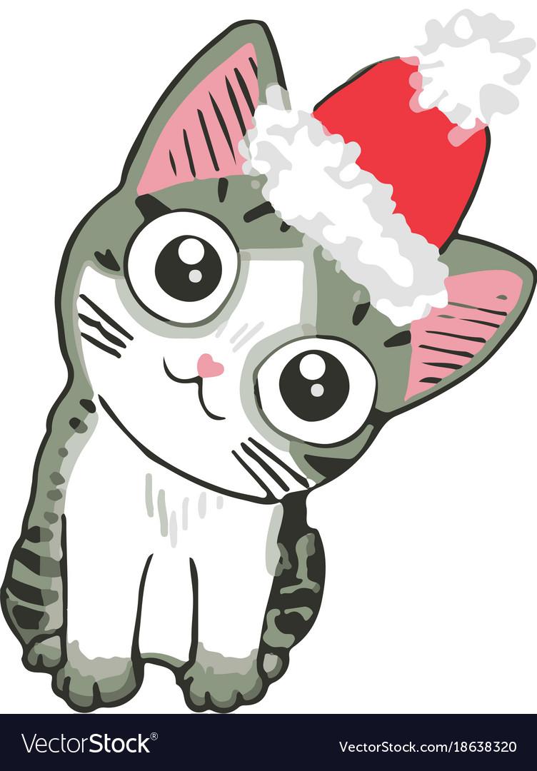 Cute kitten in a santa hat funny cat christmas