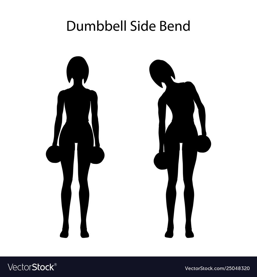 Dumbbell side bend exercise silhouette