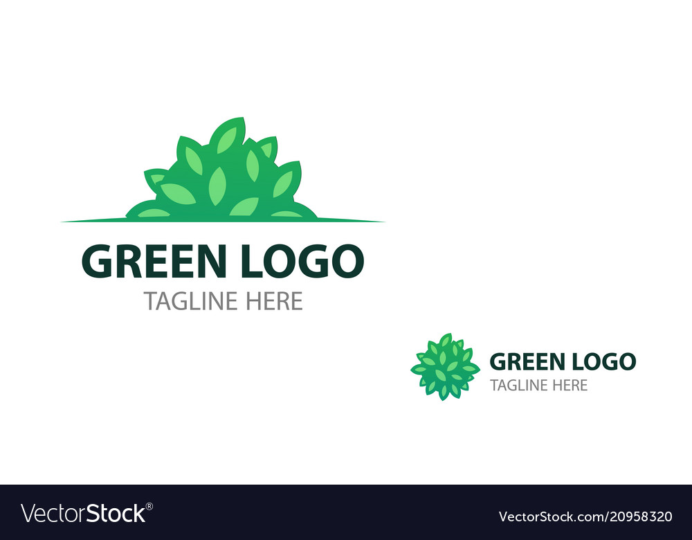 Eco logo with shrub for signboard and business