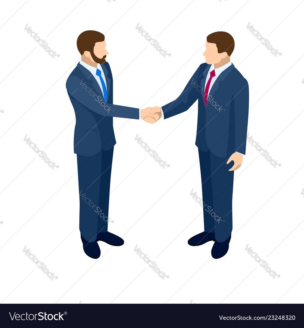 Isometric business handshakecincept two business