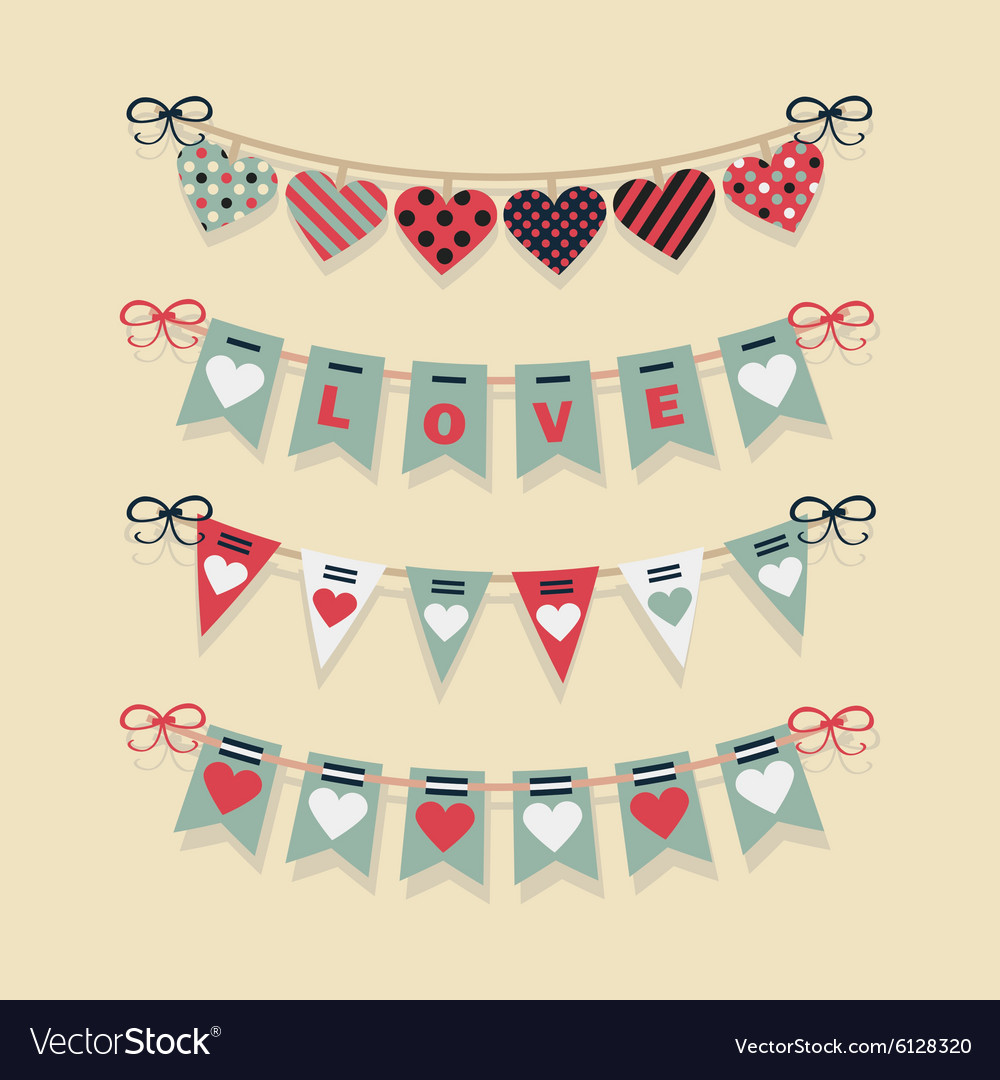 Love and hearts banners flags and buntings set