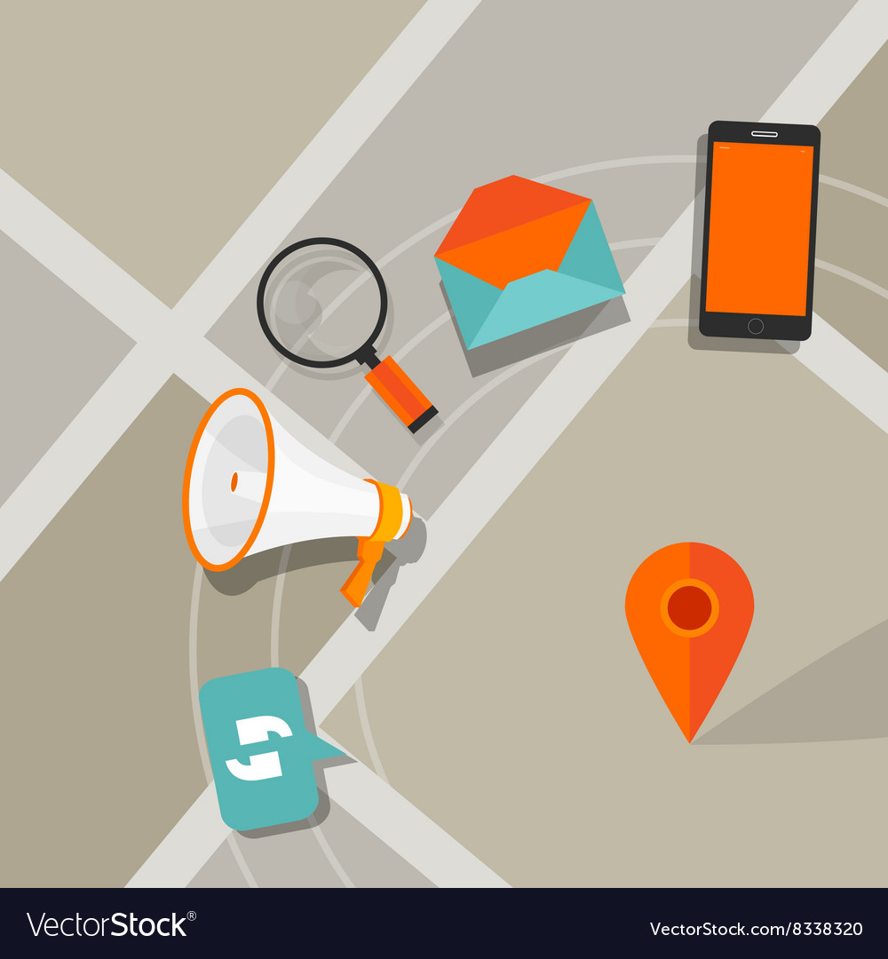 Mobile ads advertising phone click digital local vector image