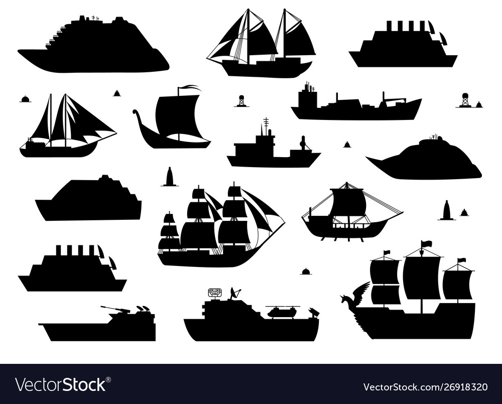 Sea ship silhouettes boats adapted to open