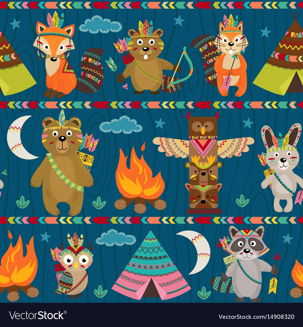 Seamless pattern with tribal animals night