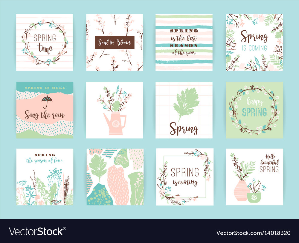 Set of artistic creative spring cards