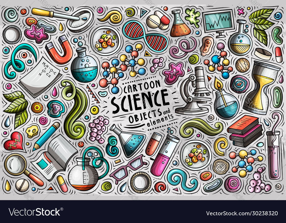 Set science theme items objects and