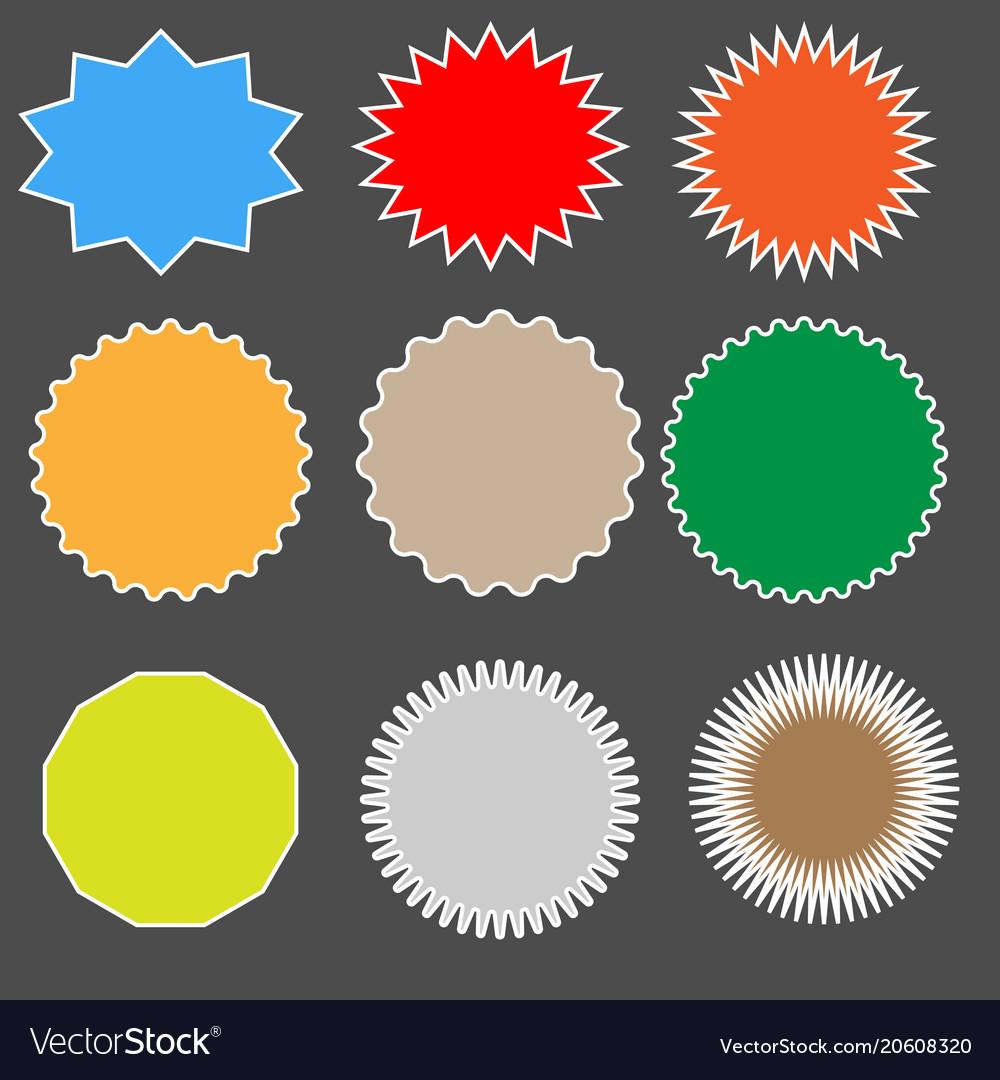 Set starburst on black background starburst sign vector image