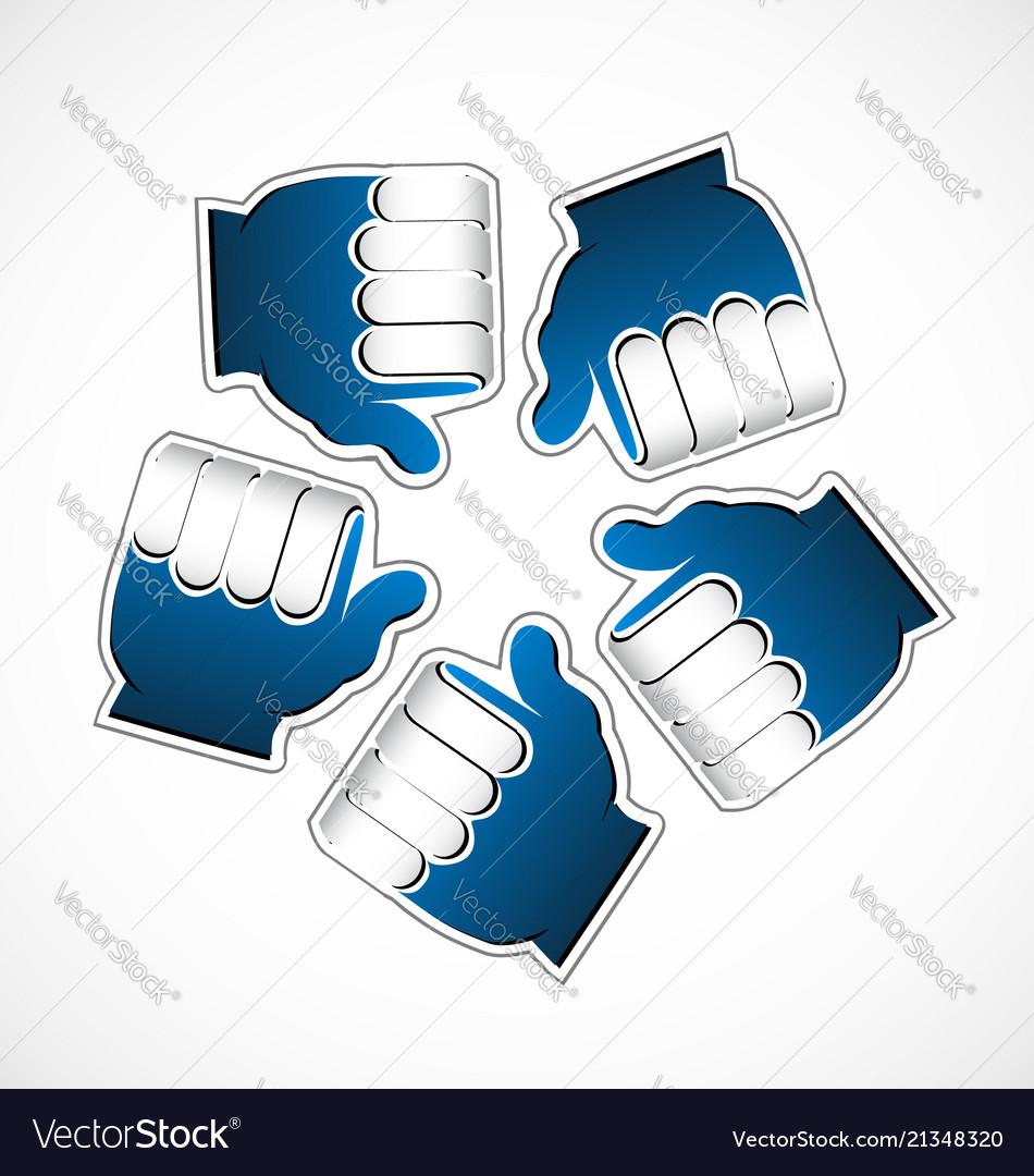 Thumbs up like circle grouped team