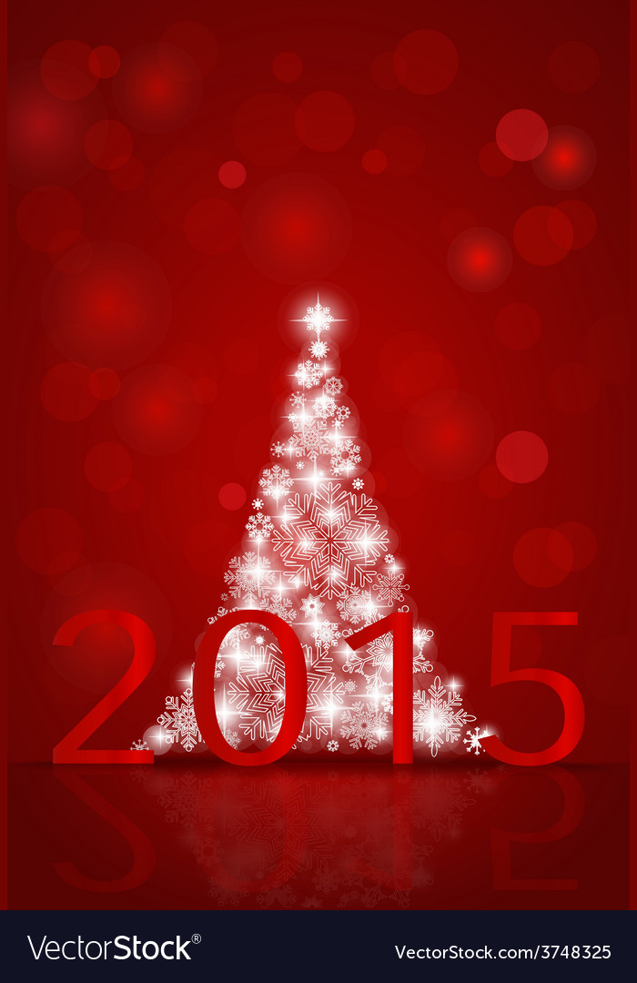 2015 Happy New Year background with Christmas tree vector image