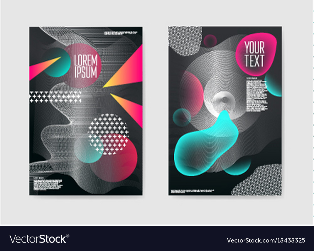Abstract trendy posters fluid geometric shapes