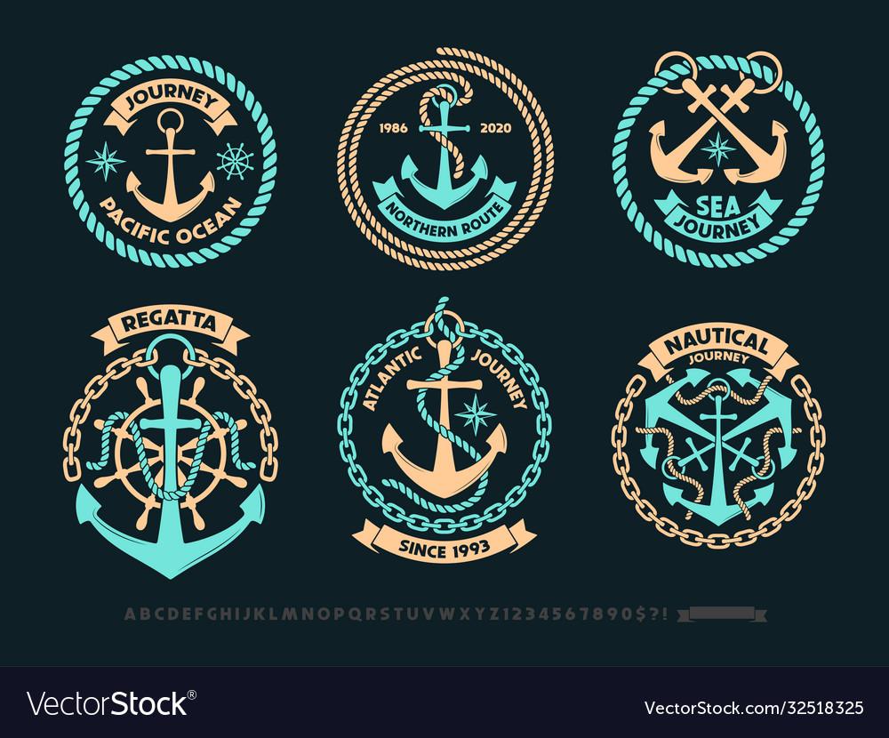 Anchor logo nautical adventure emblem t-shirt