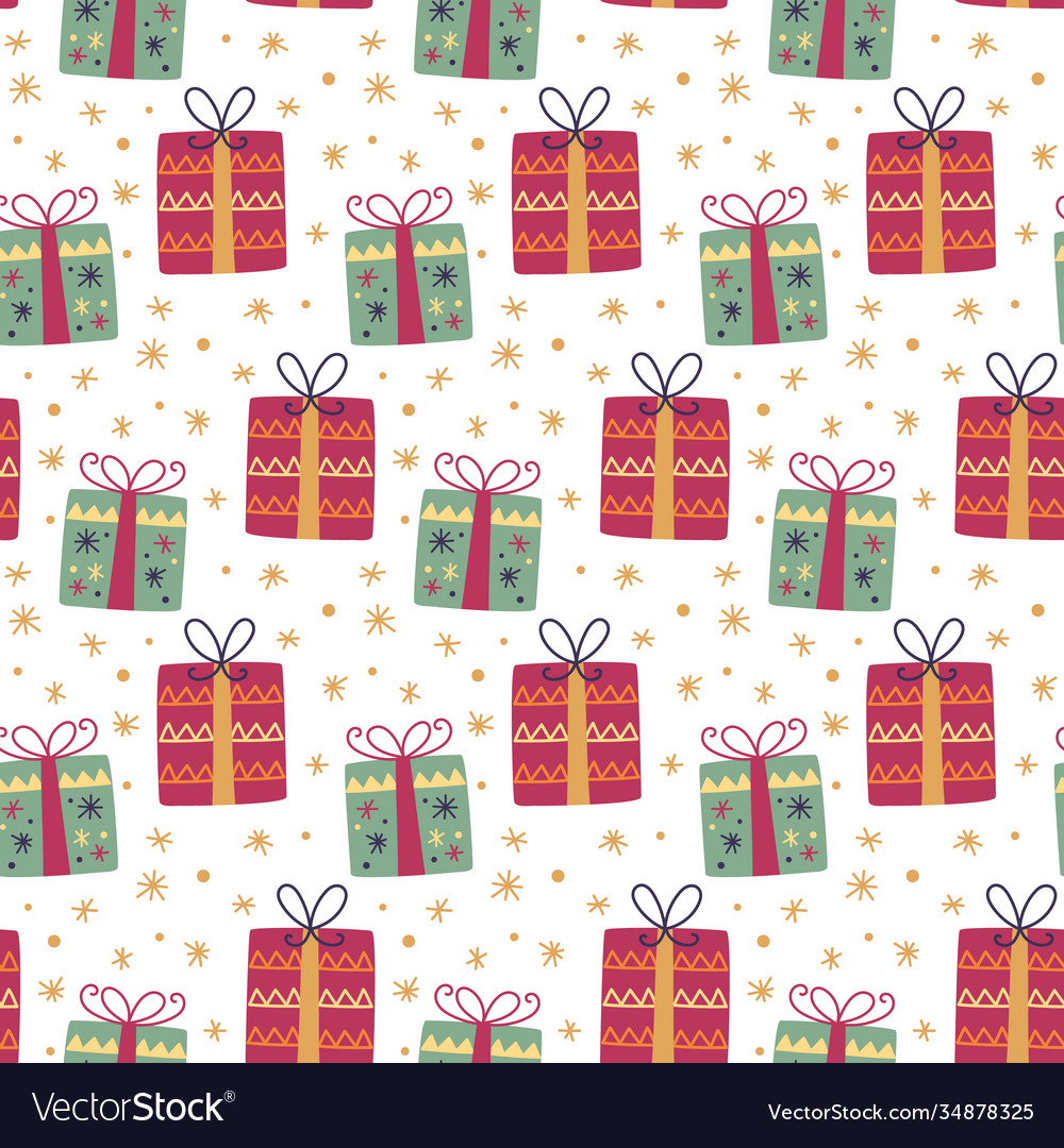 Christmas gift box decoration seamless pattern