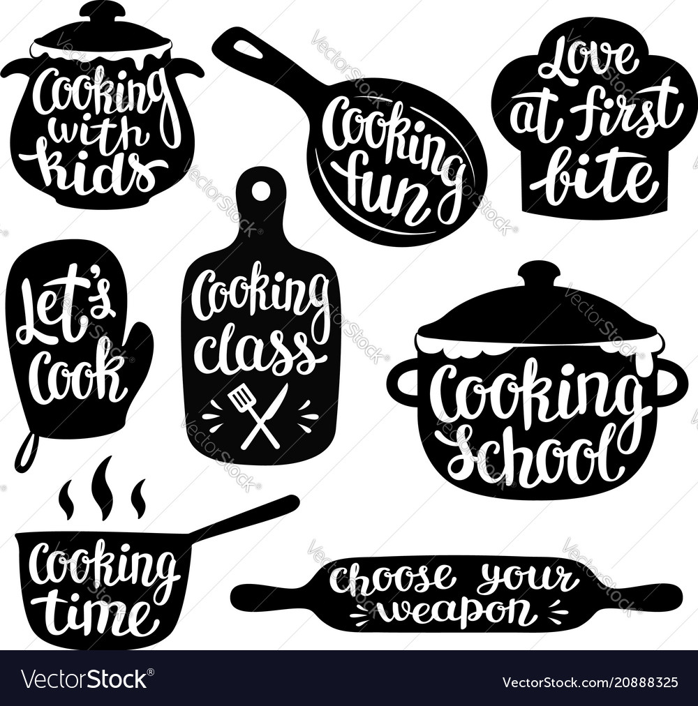 Collection of cooking label or logo
