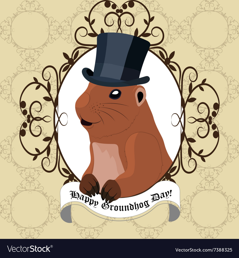 Groundhog day greeting card with cute marmot in
