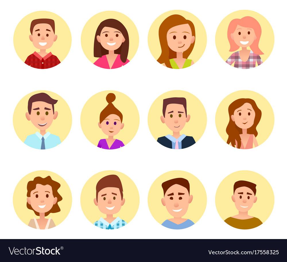Happy cartoon children portraits in circles set