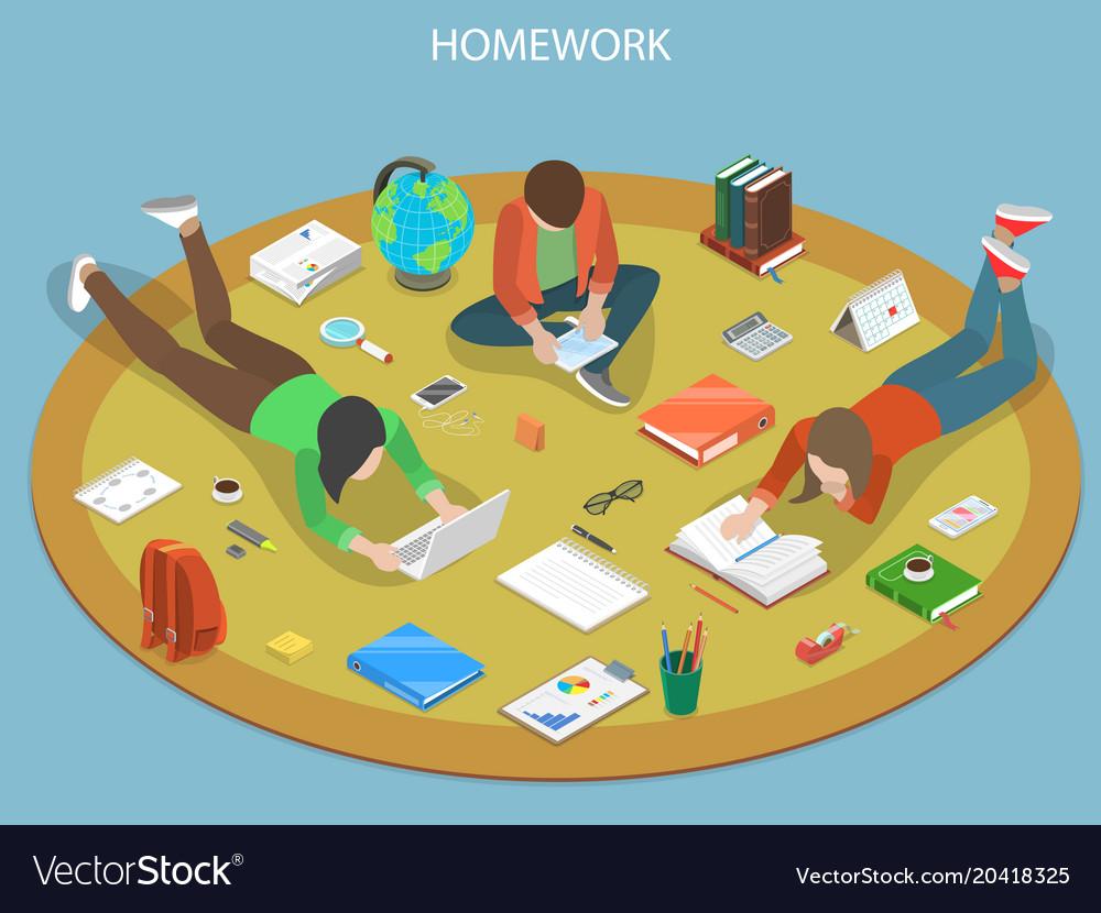 Homework flat isometric concept