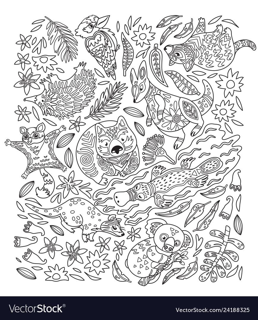 Ink set of decorative australian animals