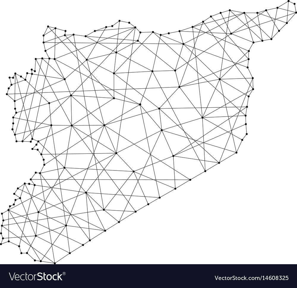 Map of syria from polygonal black lines and dots vector image