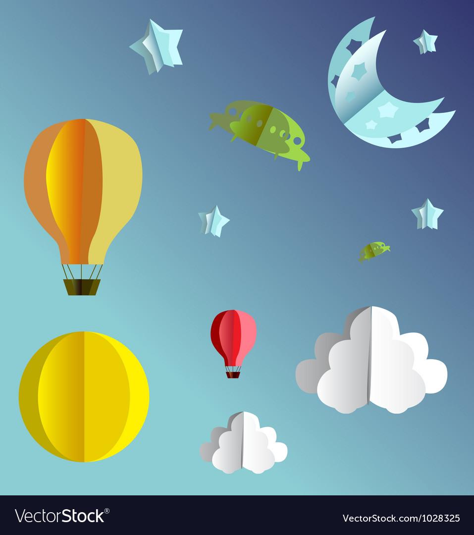 Paper folded flying transport vector image