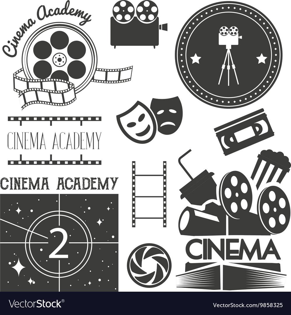 Set of cinema logo labels Movie studio