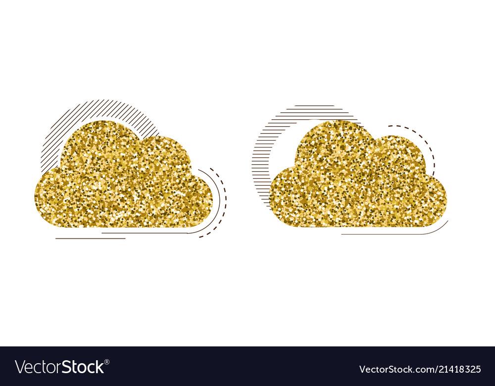 Set of creative cloud with golden glitter texture