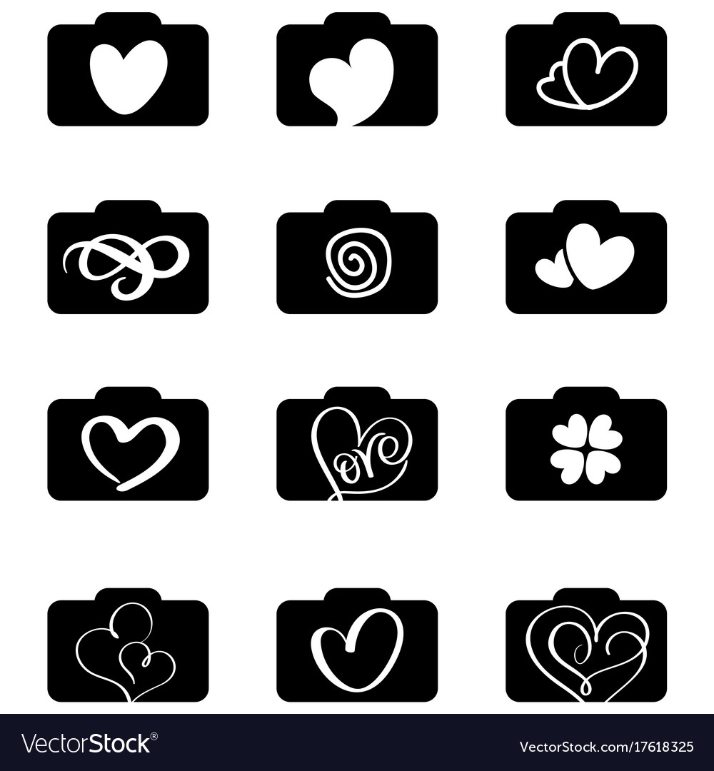 Set of photography icons logos for love wedding