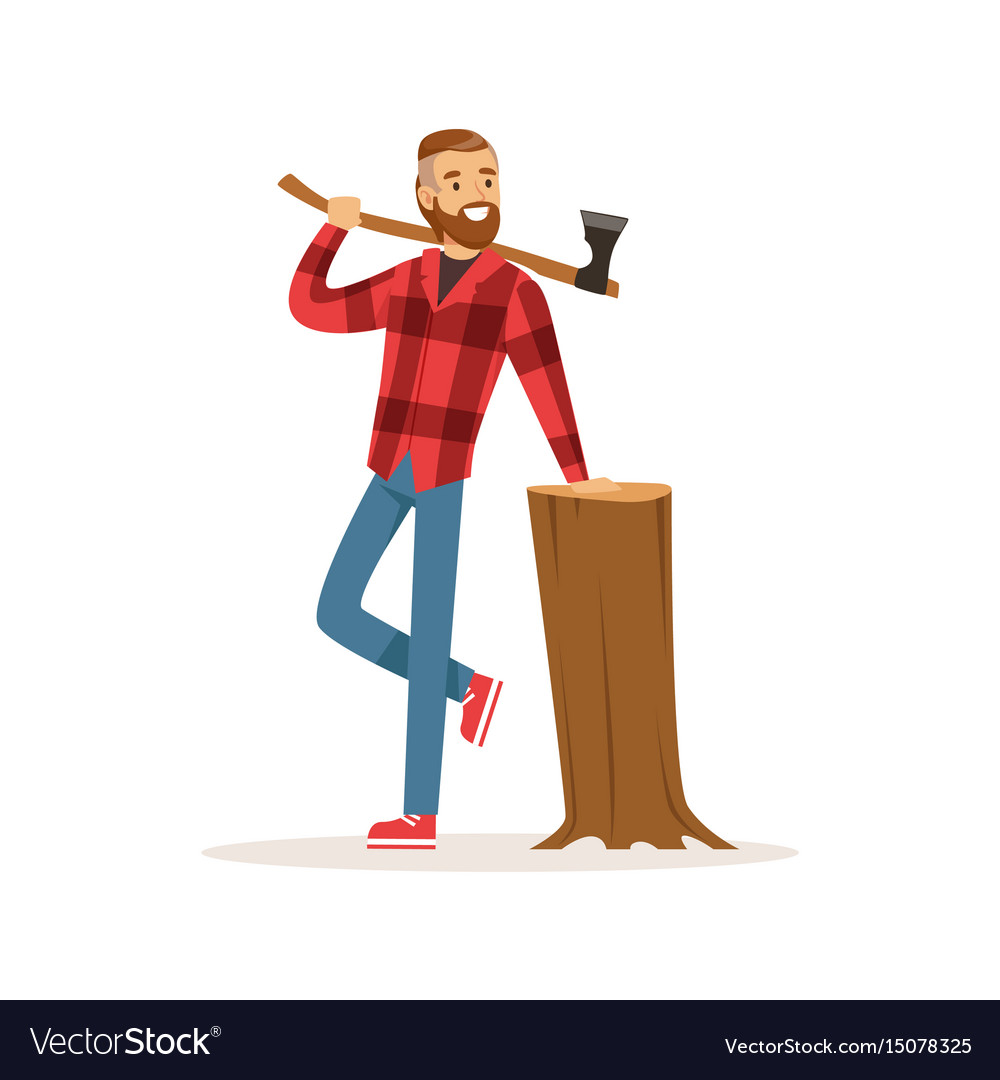 Smiling lumberjack with an axe and downed log