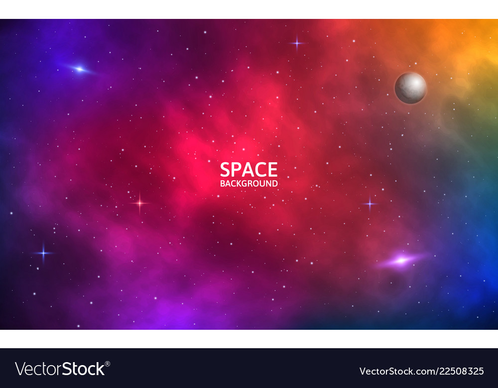 Space Background Realistic Colorful Galaxy Color Vector Image