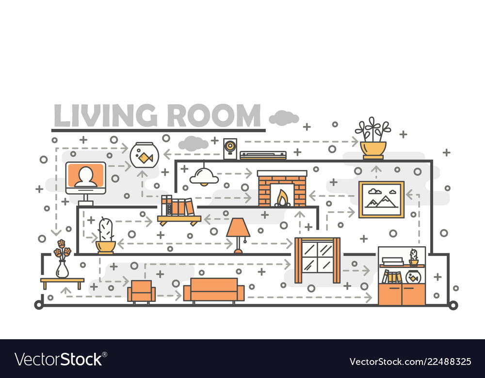 Thin line art living room poster banner