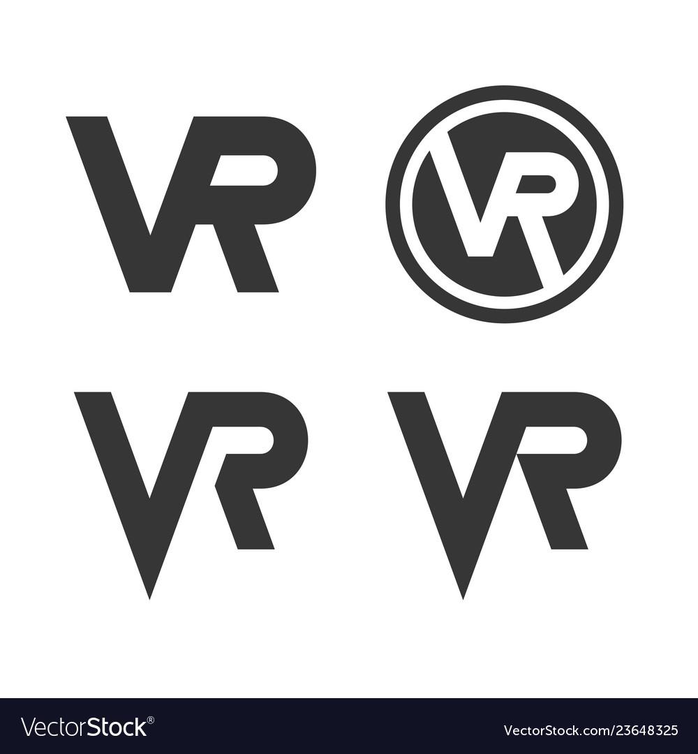 Virtual reality logo icon set on white background