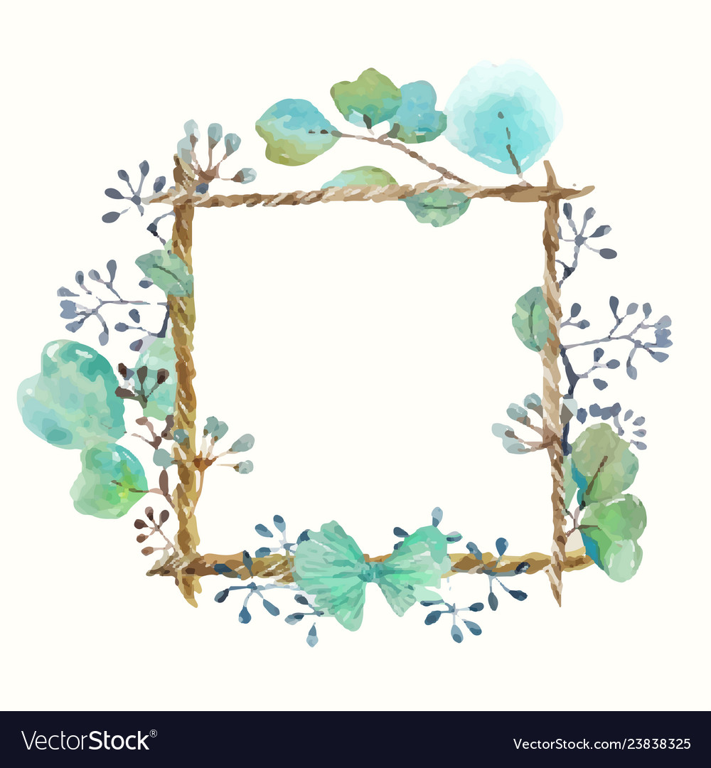 Watercolor frame with leaves and seeds and twine