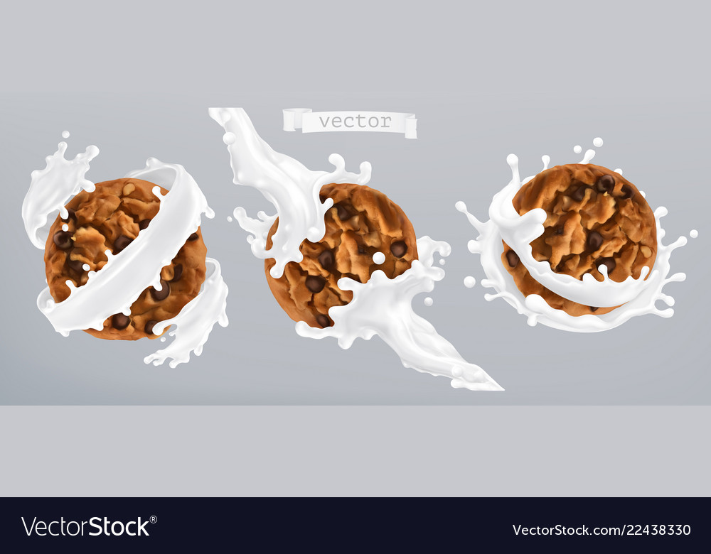 Chocolate cookies and milk splash 3d realistic