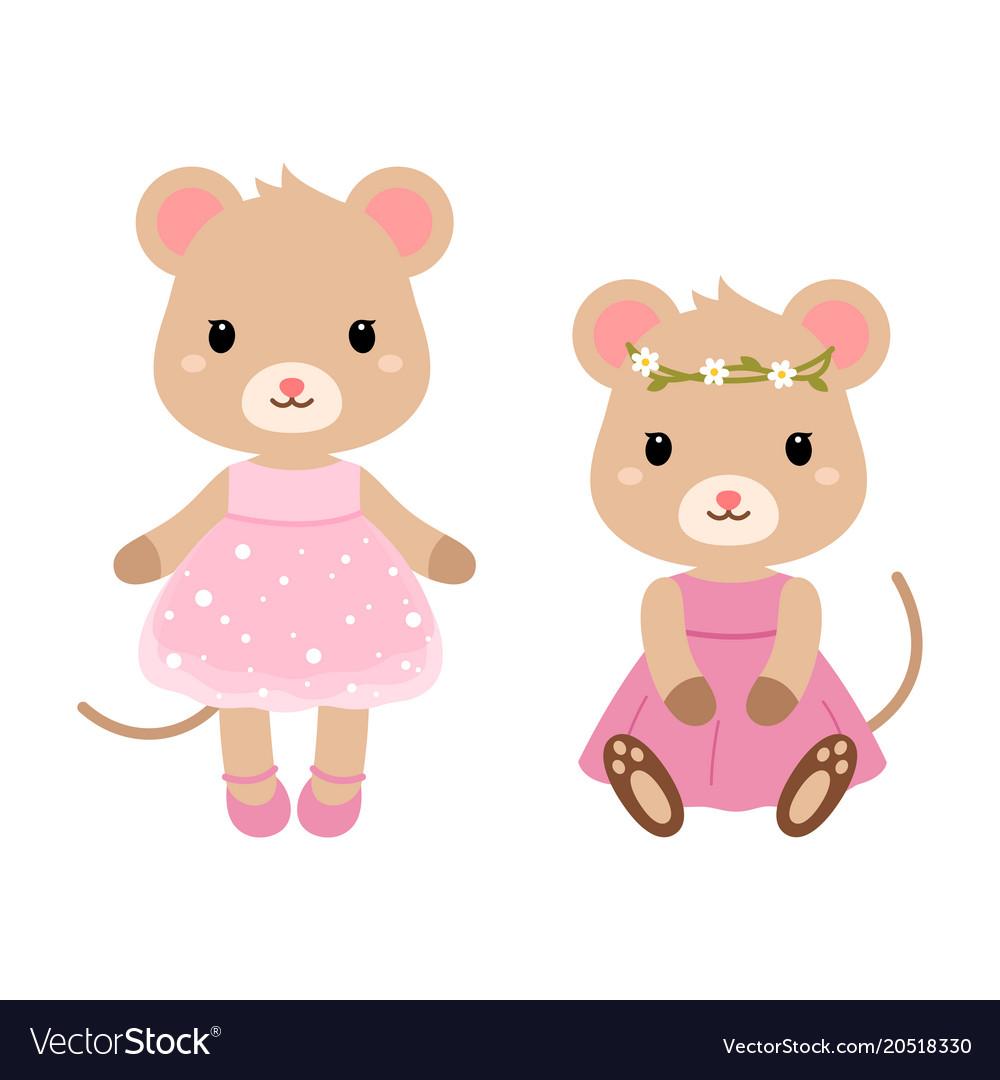 Cute mouses flat