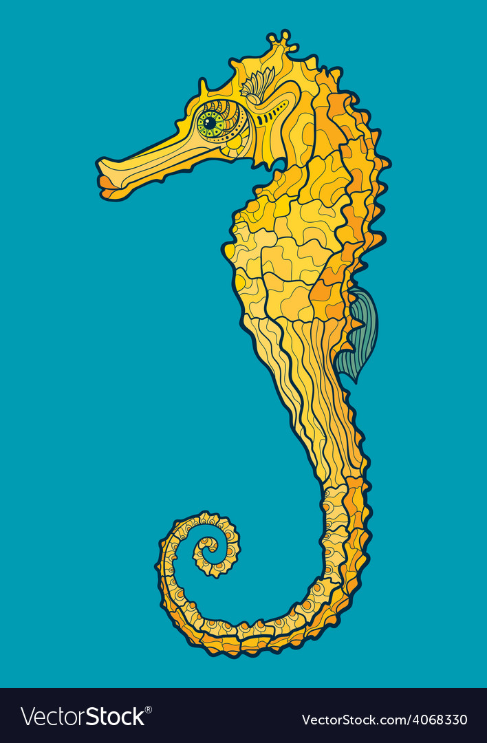 Decorative isolated seahorse