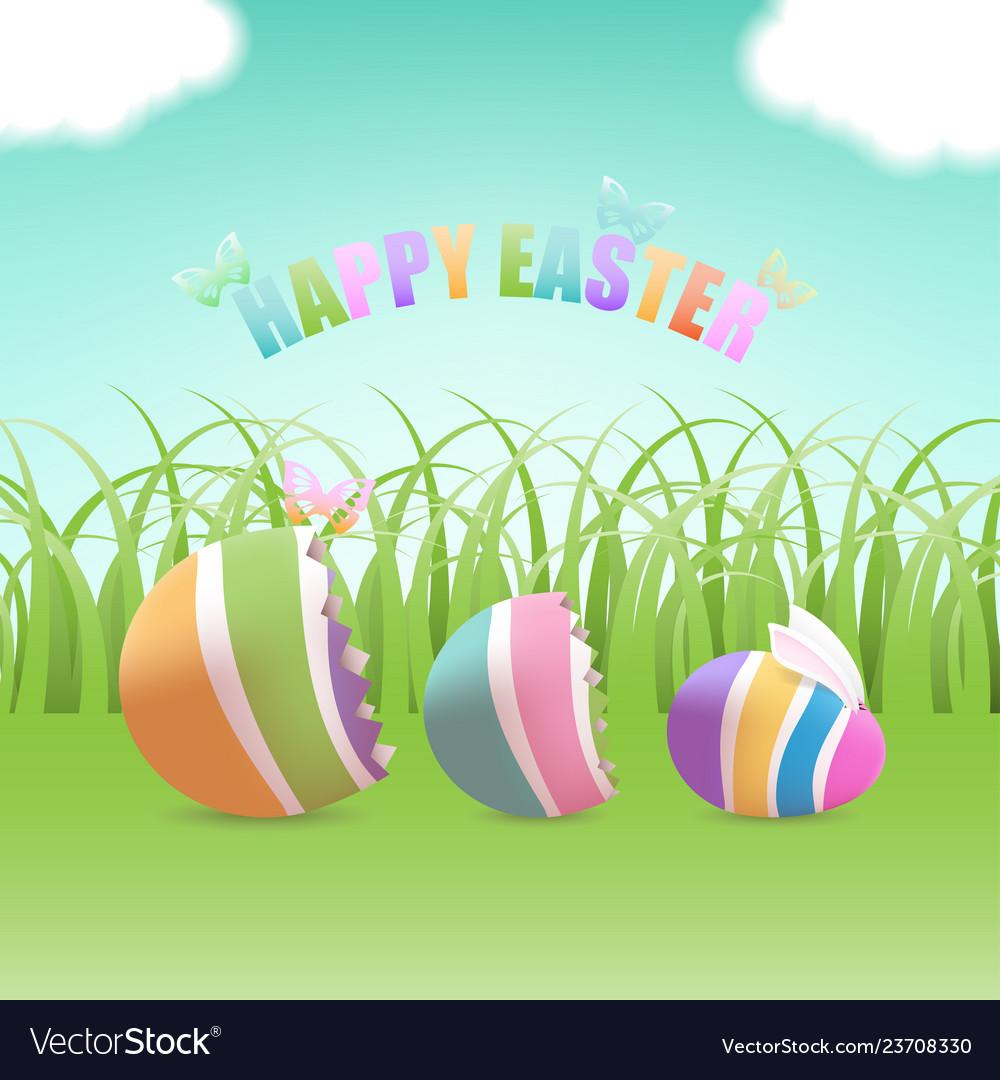 Easter egg inside eggs in grass field