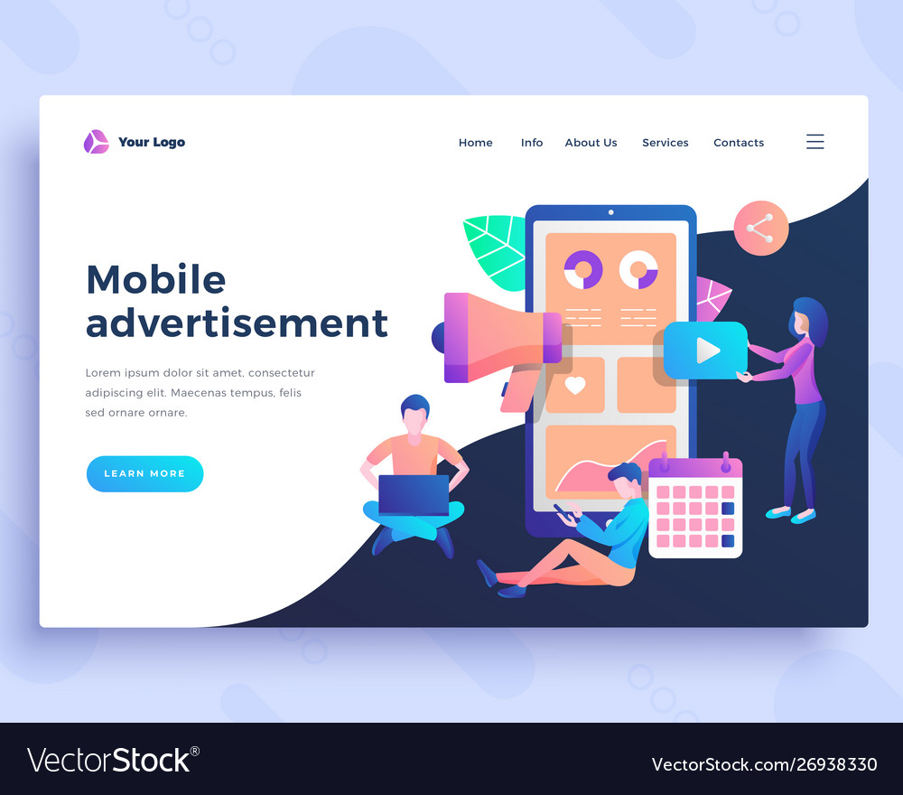 Landing page template mobile advertisement concept
