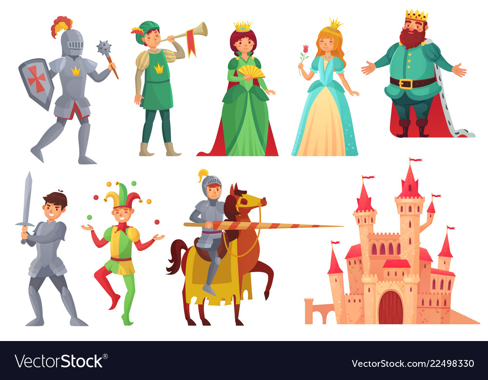 Medieval characters royal knight with lance on