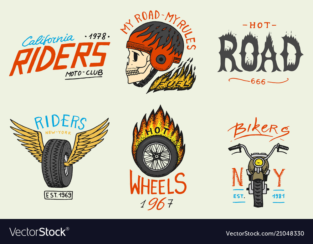 Motorcycles and biker club templates vintage