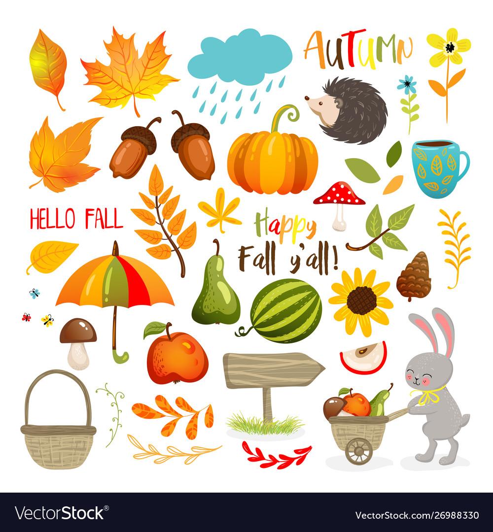 Set Cute Autumn Cartoon Elements Fall Season Vector Image