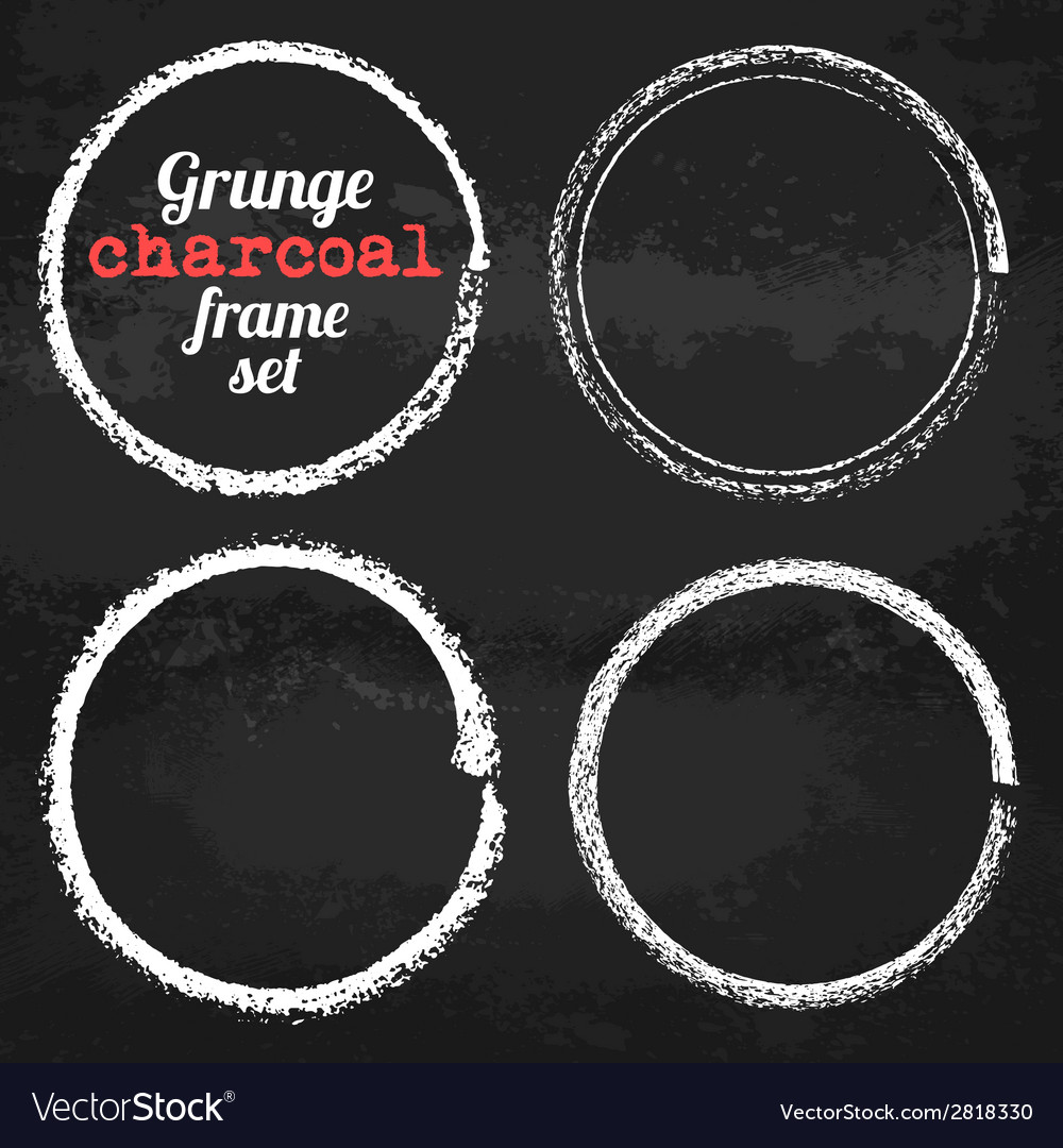 Set of four grunge circle chalk frames