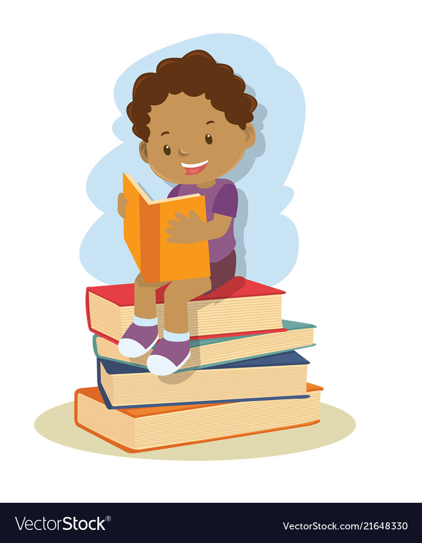Small african american boy learning and reading