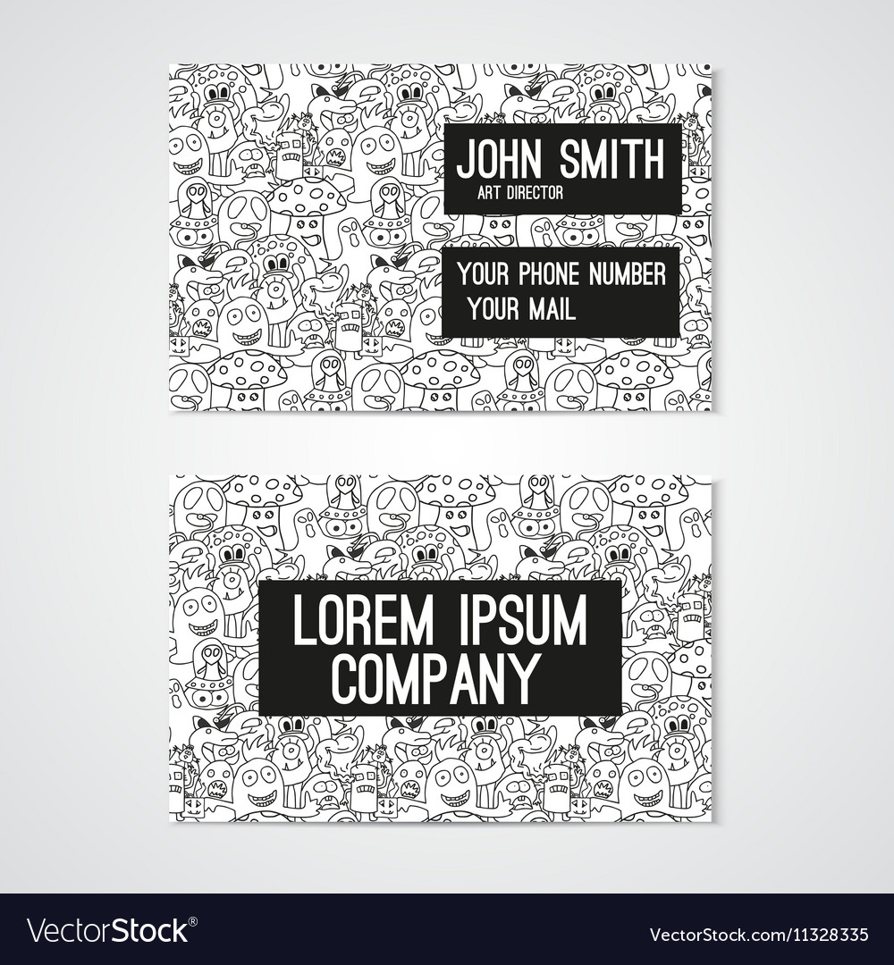 Business card template whit funny doodle monstes vector image accmission Image collections