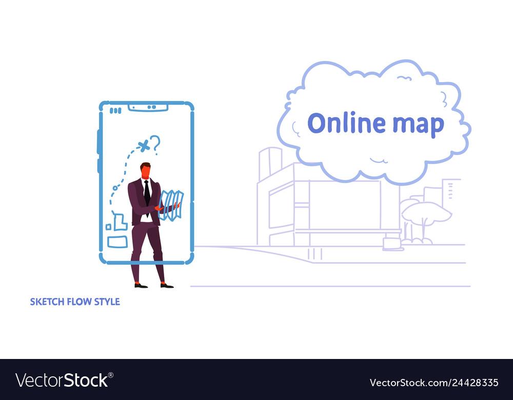 Business man using gps navigation mobile