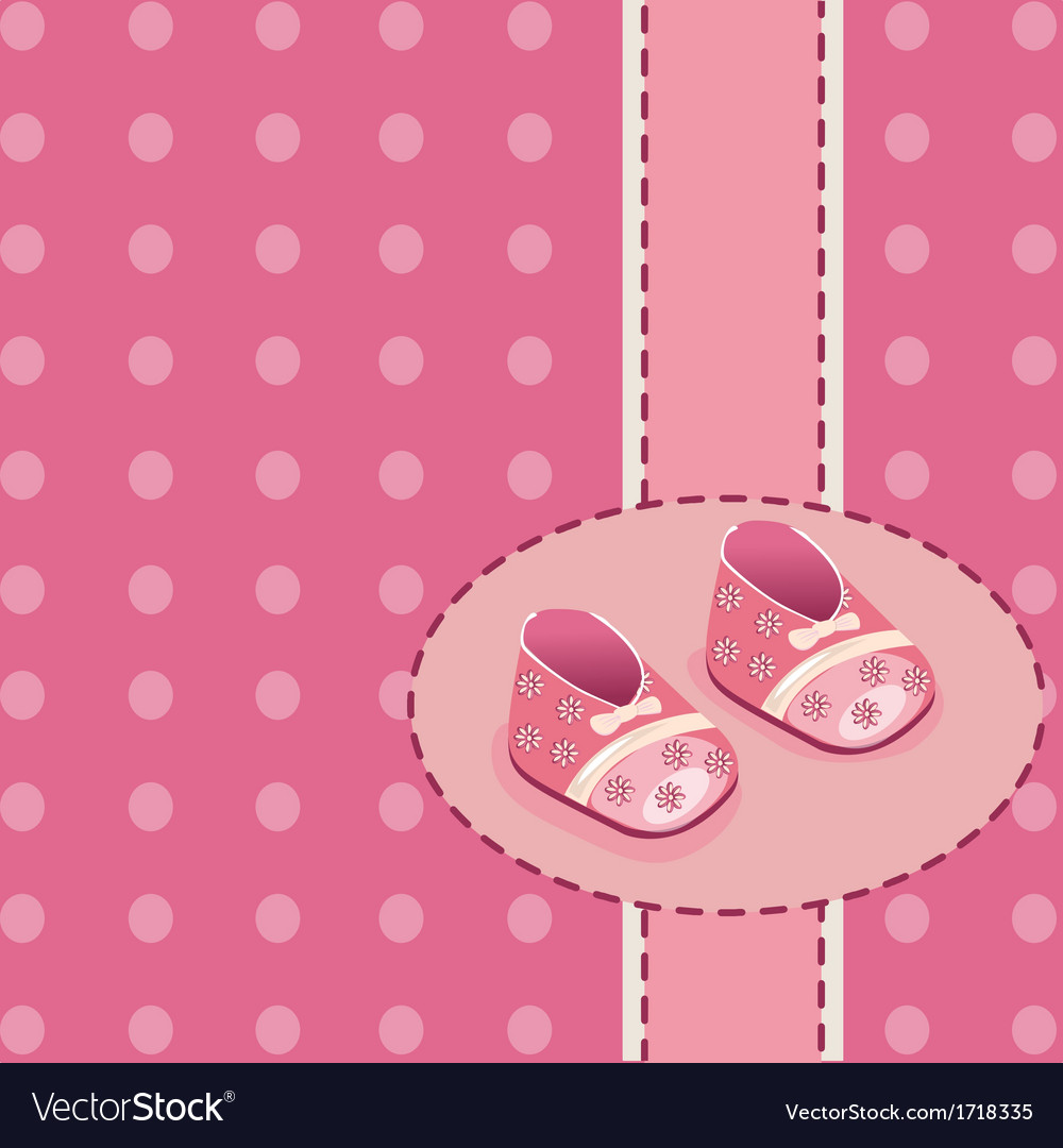 Card for baby girl shoes vector image