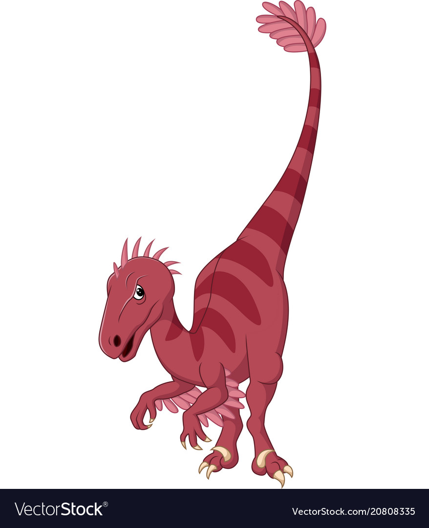 Cartoon velociraptor vector image